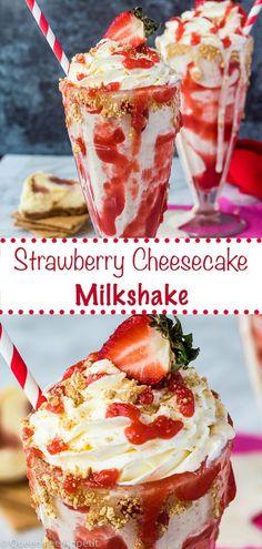 This Strawberry Cheesecake Milkshake is made with vanilla ice cream, graham cracker crumbs and a slice of real strawberry cheesecake! Homemade Milkshake, Milkshake Recipes, Smoothie Recipes, Ice Cream Milkshake Recipe, Milk Shakes, Köstliche Desserts, Dessert Recipes, Yummy Drinks, Yummy Food