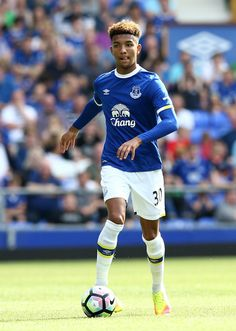Mason Holgate of Everton in action during the pre-season friendly match between Everton and Espanyol at Goodison Park on August 6,…