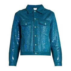 Ashish Sequin-embellished denim jacket ($463) ❤ liked on Polyvore featuring outerwear, jackets, denim jacket, evening wear jackets, denim shrug jacket, ashish and blue shrug
