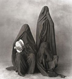 Two Women in Black with Bread, Morocco