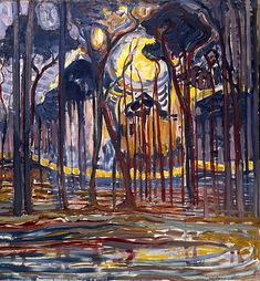 Woods near Oele - Piet Mondrian, 1908, oil on canvas, 128 x 158 cm, Haags Gemeentemuseum, The Hague, Netherlands