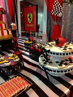 Themed desserts at a Ferrari birthday party! See more party ideas at CatchMyParty.com!