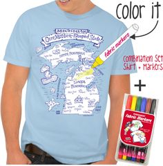 NEW Color MI Michigan T-shirt from Michigan Mittens! Color in your favorite spot on the map or track your travels. Make Michigan your OWN!
