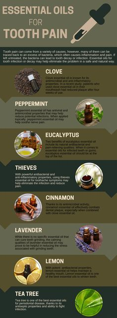 Have a toothache Try one of these eleven essential oils Toothache has multiple causes In addition to cavities other causes of toothache include a loose filling exposed r. Essential Oils For Pain, Essential Oil Uses, Young Living Essential Oils, Essential Oil For Infection, Vetiver Essential Oil, Oils For Tooth Ache, Tooth Infection, Sinus Infection, Total Body