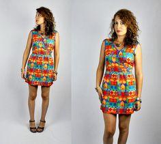 SALE Vintage Mini Dress Neon OP ART Dress Lolita Dress Baby