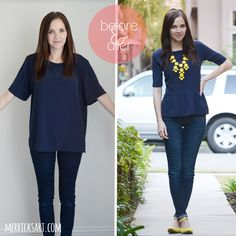 refashion a large tee into a cute form fitting blouse