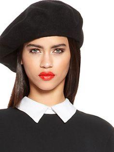 Dkny Classic Beret in Black - Lyst Hat Hairstyles f5c7e74c118b