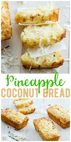 A taste of the islands, this pineapple coconut bread recipe combines your favorite  two ingredients into a sweet loaf that takes about 10 minutes prep. #Pineapple #Coconut #Bread #Loaf #BreadRecipes #recipes #PineappleBread via @simplesweetrecipes