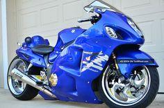 Street Motorcycles, Custom Street Bikes, Custom Sport Bikes, Blue Motorcycle, Futuristic Motorcycle, Custom Hayabusa, Custom Choppers, Sportster Cafe Racer, Suzuki Hayabusa
