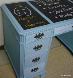 old desk turned chalkboard desk!