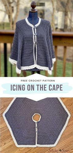 Crochet Cardigan, Crochet Scarves, Crochet Clothes, Diy Crochet Jacket, Cardigan Sweaters, Crochet Sweaters, Crochet Cape Pattern, Free Pattern, Knitting Patterns Free