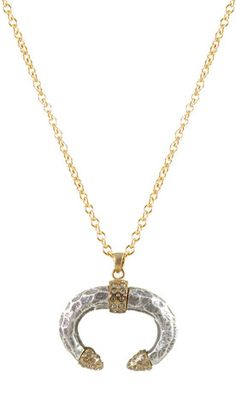 VS Asfi U-shape horn necklace with gold detail and BD crystals – Tat2 Designs