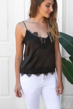 born to be cami in black by tiger mist Lace Detail, Fashion Online, Camisole Top, Boutique, Tank Tops, Model, Fabric, How To Wear, Black