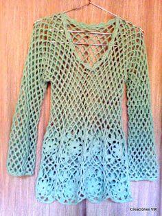 COMO TEJER REMERA CALADA A CROCHET CON PATRONES Y EXPLICACION Crochet Stitches, Crochet Patterns, Crochet Bikini, Knit Crochet, Crochet Cardigan, Crochet Clothes, Knitting, Google, Clothing