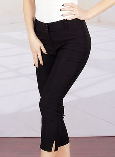 GREAT pants. Lotta stretch.  Rockabilly Pinup Clothing - Broad Minded Clothing Black Millenium Fabric Skinny Fit Capri Pants