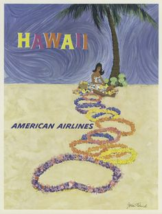 Hawaii Poster Vintage American Airlines Print by John Fernie Aviation Travel Poster Hawaii Pr Travel Ads, Airline Travel, Travel And Tourism, Travel Guide, Poster A3, Retro Poster, Hawaiian Art, Vintage Hawaiian, Hawaii Airlines