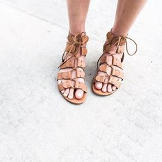 Outfit Inspiration: Tan lace up sandals. Follow @jayde_archives on Instagram.