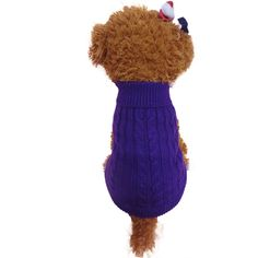 Pet Clothes,Haoricu Winter Warm Solid Sweater chien Dog Pet Clothes Clothing Small Puppy Sweater Custome Apparel (XS, Purple). There is coordinating black trim at collar, cuffs and all around opening underneath. Machine wash/dry low. Material:Knit Pattern: Solid. Size:Asian Size ; Suitable for spring, summer, fall. Package:1 x Dog Pajamas Pet Clothes Clothing Puppy Coat Cat Jumpsuit.