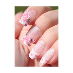 Polka Dot Rose French Tip 3D Stick On Nails [260] - $12.00 - To February ♥ Specialized in Asian Fashion, Jewelry, and Accessories from Korea, Japan, Hong Kong, Taiwan, and China