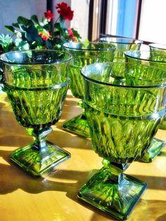 Vintage Green Pressed Glass Goblets