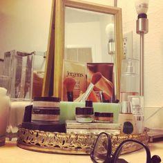 Makeup vanity organizing vignette