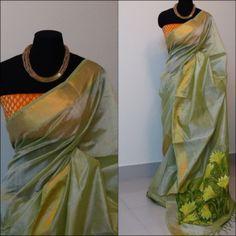 SOLD Hand painted silk cotton saree + Banaras silk brocade blouse. Rs. 6250/-