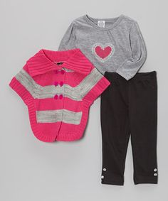 Another great find on #zulily! Pink & Gray Stripe Sweater Set - Infant, Toddler & Girls by Real Love #zulilyfinds
