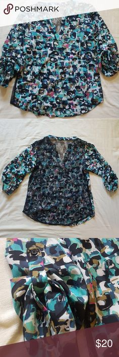 Collective Concepts Lace-back Blouse V neck, rolled sleeves, lace back. Great used condition! Collective Concepts Tops Blouses