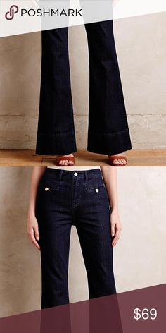 """Anthro Pilcro Superscript High Rise Flare Jean Anthropologie Pilcro Superscript High Rise Flare Jeans. Size 31; 16.5"""" width, 12"""" rise, 34.5"""" inseam. Cotton, polyester, spandex. In dark blue wash. Slim through the thigh with a generous flare. Front welt, patch back pockets. In excellent, like-new condition! Inside tag has markings, not visible from outside. Anthropologie Jeans Flare & Wide Leg"""