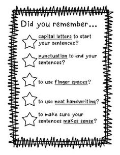 Good to glue on front flap of writing folder or post it at your writing center! I would want to change the wording for high schoolers but I like the idea!