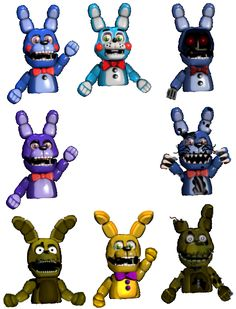 Lit, every Bonnie in the game as a hand puppet! I like the Springtrap one, Nightmare Bonnie, and Withered Bonnie ones <3 so cute!