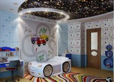 kid sport race car for boy bedroom interior design inspiration - 25 Sports Themed Kids Bedroom Design Ideas Outer Space Bedroom, Outer Space Theme, Modern Kids Bedroom, Kids Bedroom Designs, Childrens Bedroom, Ceiling Light Design, Ceiling Decor, Bedroom Ceiling, Sky Ceiling