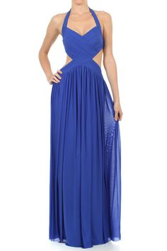 Full Length Halter Gown With Side Midriff Cut Outs