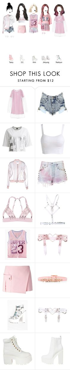 """""""— pink20 covering Boombayah"""" by frealbird ❤ liked on Polyvore featuring VILA, Brigitte Bardot, The Ragged Priest, Versace and BCBGeneration"""