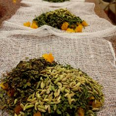 Home-made green tea blend teabags I made for friends in need of a soothing/relax