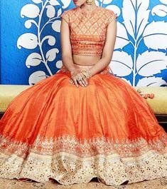 Anita Dongre Orange Lehenga Set With Gota Patti Indian Dresses, Indian Outfits, Indian Clothes, Desi Clothes, Latest Bridal Lehenga Designs, Orange Lehenga, Lehenga Style, Lehenga Blouse, Silk Lehenga