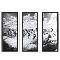 This wonderful set of three black and white Vintage Water Ski Parade Framed Prints is perfect to add a fun summer-like vibe at your lake or beach home. Framed Art, Framed Prints, Coastal Wall Decor, Wood Shadow Box, Custom Art, Water Ski, Picture Frames, Skiing, Black And White