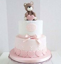Cha the Bebe Bolo Tray - - baby kuchen - Tortas Baby Shower Niña, Gateau Baby Shower, Baby First Birthday Cake, Birthday Cake Girls, Bolo Lego, Christening Cake Girls, Christening Cake Toppers, Bolo Fack, Teddy Bear Cakes