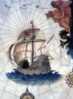 The nau (carrack) was a type of vessel that was larger than a caravel but smaller than the later galleon. They were used in the voyages of Christopher Columbus, Vasco da Gama and Cabral. Old Sailing Ships, Nautical Art, Vintage Nautical, Old Maps, Historical Art, Vintage Maps, Illustration, History, Drawings