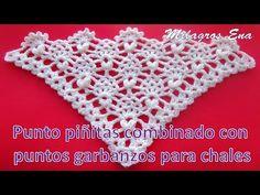 Punto a crochet para chales en V: piñitas combinado con puntos garbanzos - YouTube Shawl Patterns, Crochet Stitches Patterns, Crochet Designs, Stitch Patterns, Crochet Blouse, Crochet Shawl, Crochet Scarf Youtube, Crochet Videos, Filet Crochet