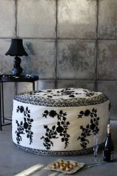 Giant Pouffe Cover in Black and Ivory
