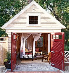 I like for gardening shed and extend a small green house! cottage-shed-in-the-backyard. Outdoor Bedroom, Outdoor Rooms, Outdoor Living, Summer House Garden, Home And Garden, Fantasy House, Backyard Retreat, Backyard Cottage, Backyard Studio