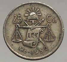 1952 MEXICO - Silver 25 Centavos Eagle Liberty Cap Scales Mexican Coin i56721