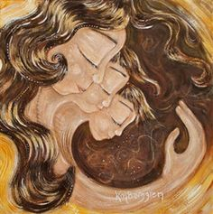 Revolution - mother with 2 children print by Katie m. Berggren  Message from the Artist: They revolve around each other, she revolves around them. Together they can take on the world.