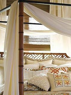 Transform your master suite into a tropical getaway with the Tortola Sheer Panel Canopy that drapes beautifully over your canopy bed and offers sheer, billowing panels.