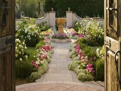 front walkway, the doors, backyard landscaping, stone paths, beauti garden, garden paths, formal gardens, garden walkways, entrance ways