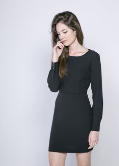 """Black Long Sleeve Dress. Material: 96% Polyester 4% Elastane. Model wears size S and her height is 5ft 7"""" - www.froww.com"""