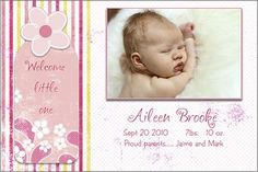 free card and birth announcement templates