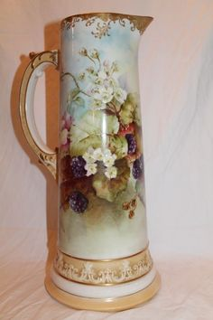 RARE FIND ~ Truly Magnificent Antique American Belleek HUGE Tankard Breathtaking Hand Painted Blackberries, Leaves and Flowers Plus Gorgeous Hand Painted Victorian Roses. from bandcantiques on Ruby Lane
