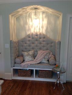 Closet area converted into a reading nook